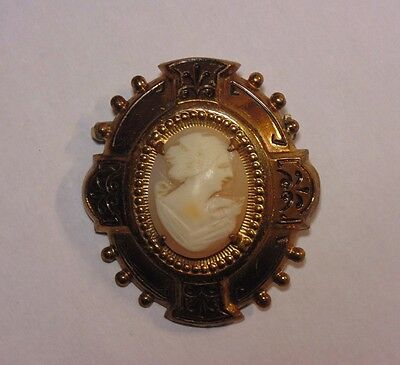 Vintage Art Deco Brass Tone Carved Shell Cameo Pin Brooch Unique Setting