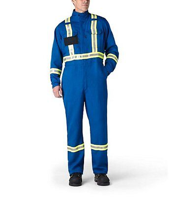 HAMMILL, HI-VIS COVERALLS FLAME RESISTANT BLUE 9oz, INSULATED 40.6 CAL SIZE:S,