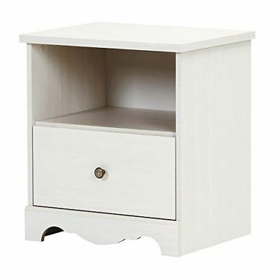 South Shore Furniture 10300 Caravell 1-Drawer Nightstand, White Wash