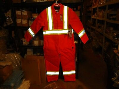TOUGH DUCK, HI-VIS SAFETY 5oz, INSULATED COVERALLS, MODEL#S77482, ORANGE, SMALL