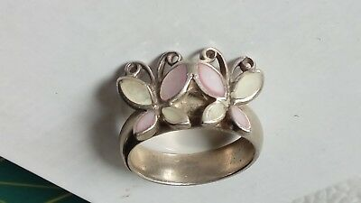 Vintage Sterling Silver Mother of Pearl Double Butterfly Ring Size 9, Stamp 925