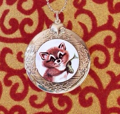 Raccoon Caught a Fish, Silver Bubble Charm Photo Locket Necklace USA