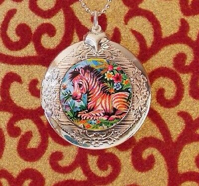 Tropical Zebra in Flowers, Silver Bubble Charm Photo Locket Necklace, USA