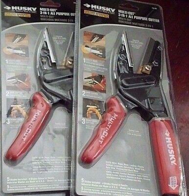Two (2) Husky 3-IN-1 Multi-Cut All Purpose Cutter #735 168 w/Extra Blades
