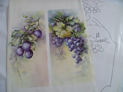 1970's Vintage China Painting #72 Two Designs Sonie Ames Plums Grapes