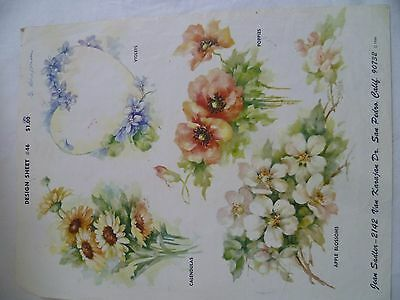 1960's Vintage China Painting #46 Jean Sadler Calendulas Violets Poppies Apple
