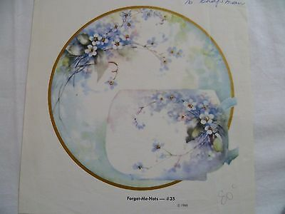 1960's Vintage China Painting #35 Forget-Me-Nots Jean Sadler Cup Saucer