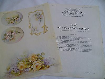 1960's Vintage China Painting #30 Plaque Designs X4 Sonie Ames Rose Violet Daisy