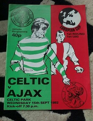 celtic v ajax programme.