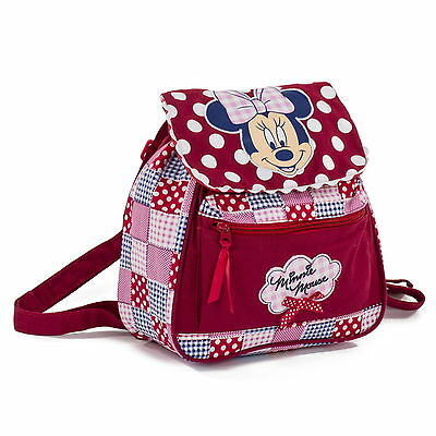Disney Minnie Mouse Girls Kids Backpack Rucksack School Bag - Patchwork Design