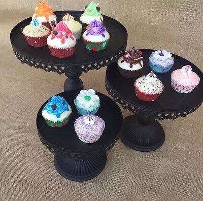 10 Inch 25Cm Black Iron Metal Cupcake Cake Stand Wedding