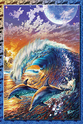 NEW TOLAND GARDEN FLAG SURFING DOLPHINS IN THE MOONLIGHT GORGEOUS FLAG!  12.5x18