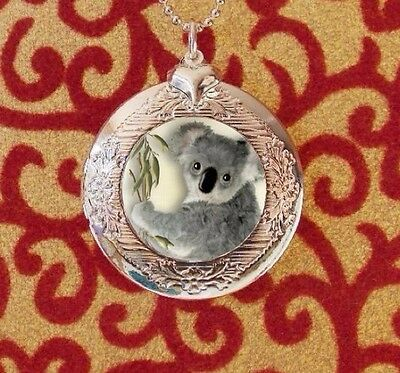 Sweet Koala Bear, Silver Bubble Charm Photo Locket Necklace, USA