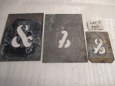 "No--7--  TIN    STENCIL'S   ASSORTMENT OF  &'S  --1 3/4 ""  --2 ""  --3  ""  HIGH"
