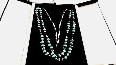 """Navajo Turquoise And Marcasite, Onyx, Sterling Silver Necklace 2 Strands, 24"""""""