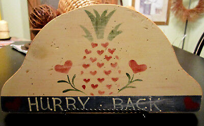 +-Vintage Folk Art Hand Carved and Hand Painted Wooden 'Come Back' Sign