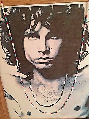 """Jim Morrison Necklace Red Blue White Beads 30"""" NEW Handcrafted by K. Laraine"""