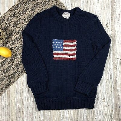 Ralph Lauren Polo Jeans Flag Sweater Child's Size S Navy Blue Cotton