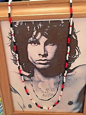 """Jim Morrison Young Lion Necklace Red Black Larger Beads 31"""" NEW Handcrafted"""