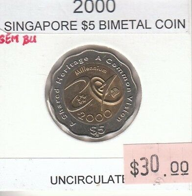 Singapore 5 Dollars 2000 Bimetallic UNC Uncirculated