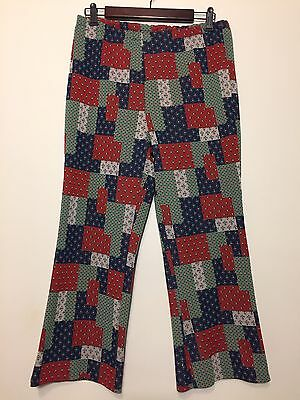 Vtg 1970s Womens Faux Patchwork Bell Bottom Wide Leg Pants Double Knit Polyester