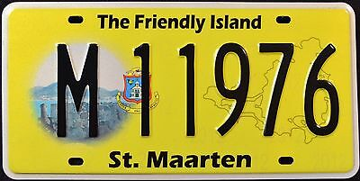 """ST. MAARTEN """" THE FRIENDLY ISLAND """" Graphic License Plate"""
