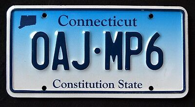 """CONNECTICUT """" CONSTITUTION STATE - BLUE - OAJ MP6 """" CT Graphic License Plate"""