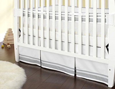 Crib Skirt Just Born Grey Color 28 x 52 Inches and 16 Inch Drop Tailored Design