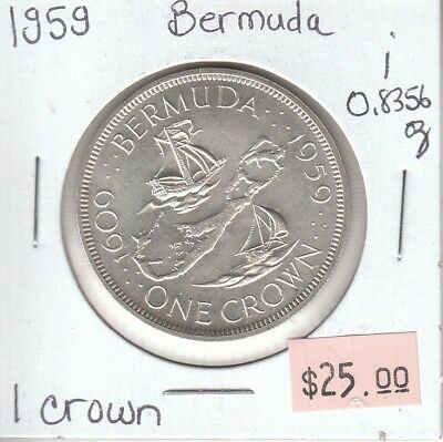 Bermuda 1 Crown 1959 Silver Circulated - i