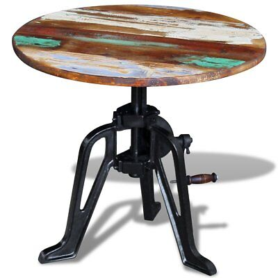 #vidaXL Recycled Timber Side Coffee Table Height Adjustable Cast Iron Base Retro