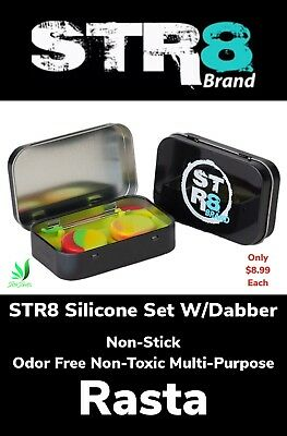 STR8 Brand Non Stick Silicone Set Wax Dab Tool & 2 Circle Containers Rasta New