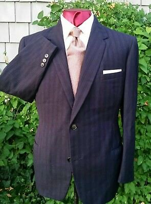 38R DATED Minty VTG 40s WWII Bond Clothes NYC Buttonfly PANT Blue PINSTRIPE Suit