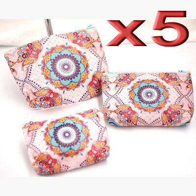 5x Wholesale 3pc Set Waterproof Travel Makeup Cosmetic Bags Toiletry Case Mixed