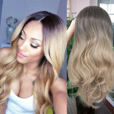 Womens Lace Front Blonde Ombre Hair Full Wig Cosplay Black Root Long Curly Wigs