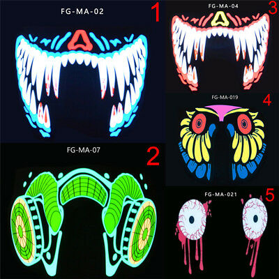 LED Luminous Flashing Face Mask Party Mask Light Up Dance Halloween Cosplay Mask