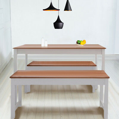 Heavy Duty Wooden Solid Dining Table and 2 Benches Kitchen Bench Dining Set Pine
