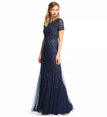 NWT Adrianna Papell Cap Sleeve Beaded Gown Navy - Size 16