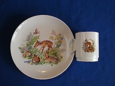 AK Kaiser West Germany Child's Cup & Plate ~ Sweet Fawns. Bunny, Bird, Butterfly