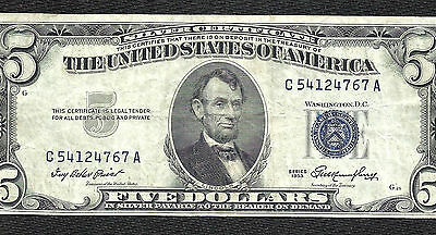 1953 $5 BLUE Seal SILVER Certificate! VF! Crispness! Old US Paper Money!