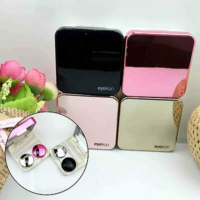 Mini Simple Contact Lens Travel Case Box Container Kit Set Holder With Mirror