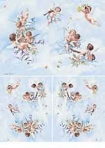 1 Blatt Decoupage Reispapier Angels in the sky  Decomania