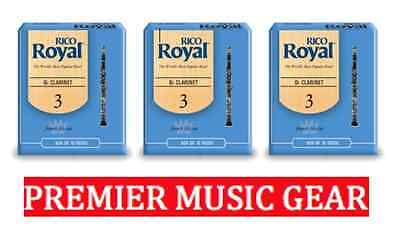 Rico Royal 10pk Clarinet Reeds. (3 boxes) Beginners & Intermediate Strength: 3.0