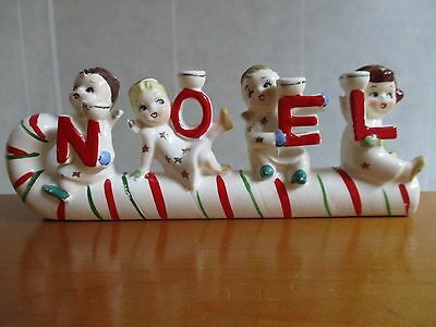 Relco NOEL Angels Kids on Candy Cane Candle Holder Vintage Ceramic Christmas