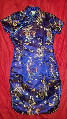 Chinese Dress - Child Size 12 - Blue Dragon and Bird Embroidery