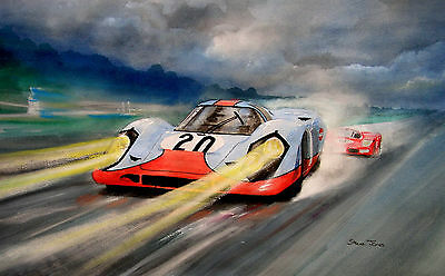 Original  Le Mans 1970  Mixed Media   Painting