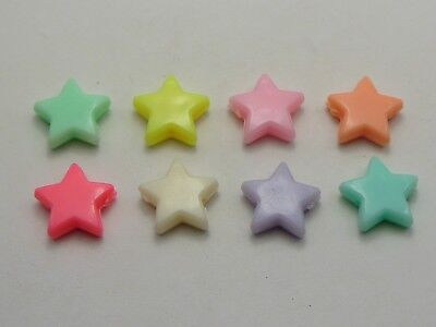 100 Mixed Pastel Color Acrylic Star Beads Charms 14mm