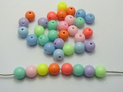 100 Mixed Pastel Color Acrylic Round Beads 10mm Smooth Ball Spacer High quality