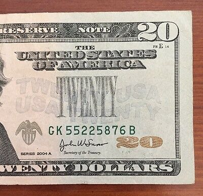 2004A $20 Missing Green Seal Error Note (5876B)
