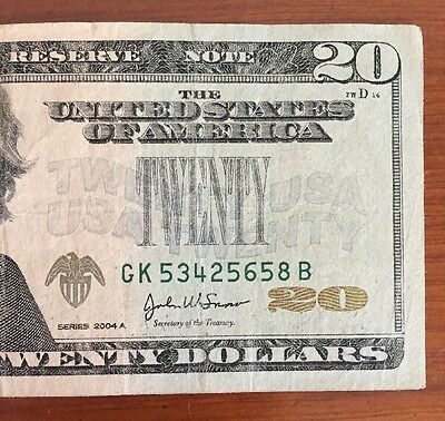 Series 2004A $20 Missing Green Seal Error Note (5658B)