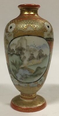 Fine Antique Japanese Miniature Kutani Vase Signed to Base Meiji Period 8.5cmA